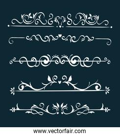 set of elegant ornamental borders frames