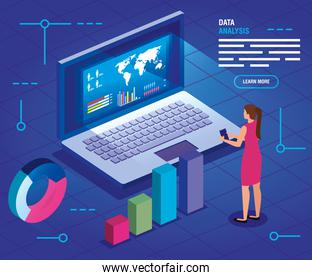 businesswoman with laptop and analysis data