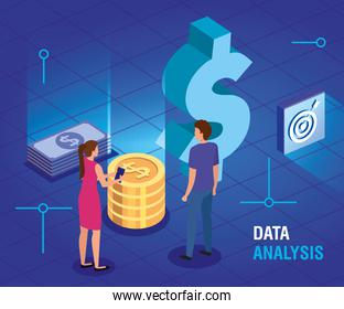 business couple with data analysis