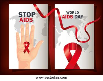 set poster of world aids day with ribbon