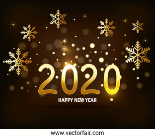 poster of happy new year 2020 with snowflakes