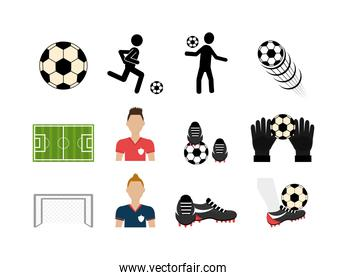 set soccer and set icons