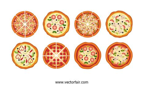 bundle of delicious pizza icons
