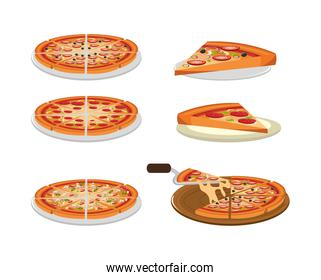 bundle of delicious pizza and portions
