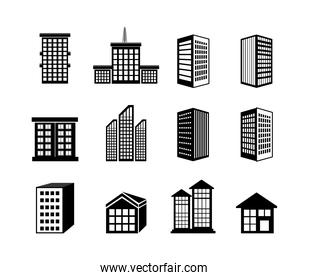 bundle buildings facade isometric icons