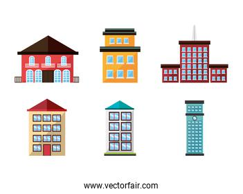 bundle structures facade isometric icons