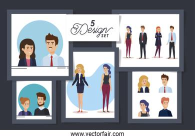 five designs of business people avatar character