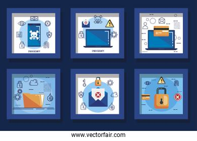 design set cyber security and icons