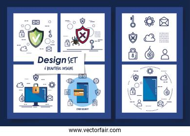 six designs of cyber security and set icons