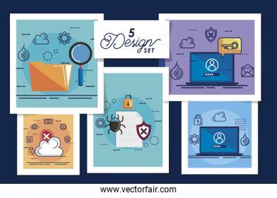 five designs of cyber security and set icons