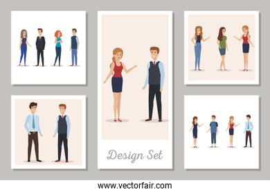 design set of business people avatar character