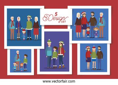 five designs of members family in christmas