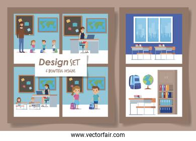 six designs of students with teachers scenes
