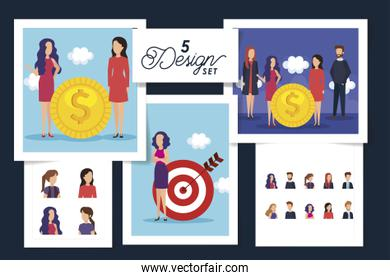 five designs of business people scenes and icons