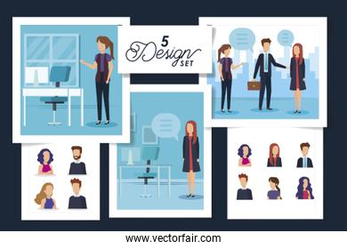 five designs of scenes business people and workplaces