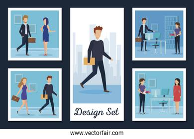 designs set business people and workplaces