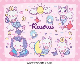 Kawaii cats sirens store cartoons vector design
