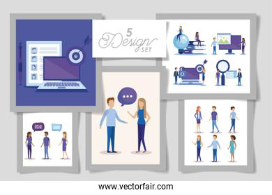 five designs of business people and set icons