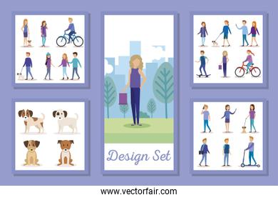 design set of people and mascots