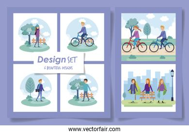 six designs of people in the park