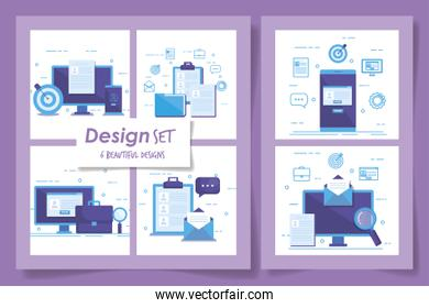 six designs of business set icons