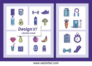 six designs of lifestyle healthy and icons