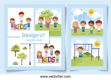six designs of kids in the park