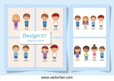 set designs of cute kids avatar character