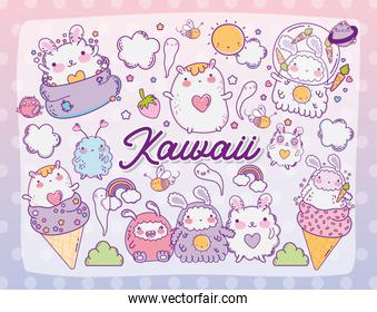 Kawaii store cartoons vector design