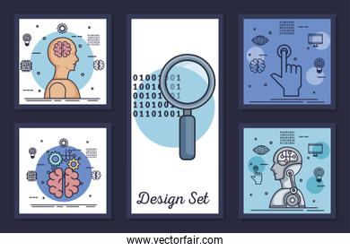 bundle of designs intelligence artificial and set icons