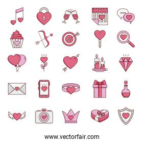 bundle of valentines day set icons