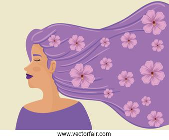 beautiful woman with hair purple and flowers