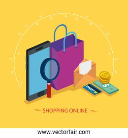 smartphone and magnifying glass with icons of shopping online