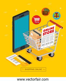 smartphone and shopping cart with icons of store online