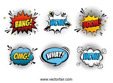 set of expressions and explosions pop art style icon