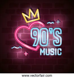 poster of nineties music with heart and crown of neon light