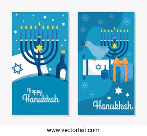 set poster of happy hanukkah with decoration