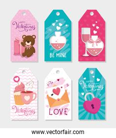 set of labels of valentines day with decoration