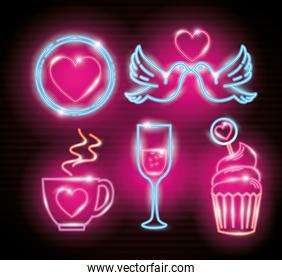set icons of valentine day of neon light