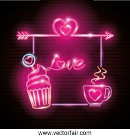 valentines day with decoration of neon lights