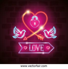 valentines day with doves and heart of neon lights