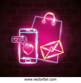 valentines day with smartphone and icons of neon lights