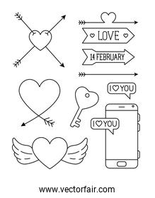 icons  set of valentines day with decoration