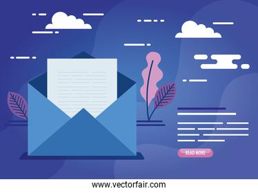 envelope mail communication with leafs decoration