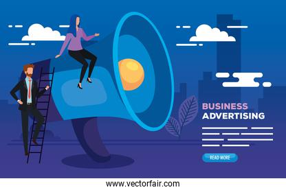 business advertising with megaphone and business couple