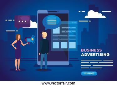 business advertising with smartphone and business couple