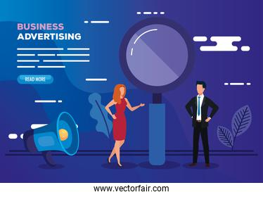 business advertising with magnifying glass and business couple