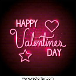 happy valentines day with heart and star of neon lights