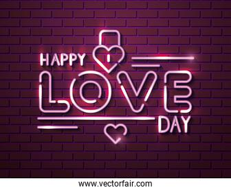 happy love day with padlock of neon lights