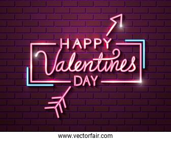 happy valentines day with arrow of neon lights